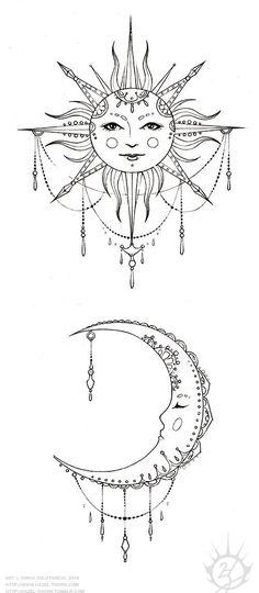 hazel-thorn — Bohemian Sun and Moon, tattoo design (inked)