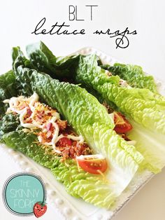 BLT Lettuce Wraps - All the amazingness of a BLT in a lettuce wrap. Skinny, light, and only 234 calories in three! So filling and delicious that you won't even miss the bread.