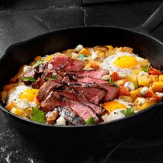 Steak and Eggs Breakfast Skillet, a recipe from the ATCO Blue Flame Kitchen s 2015 Holiday Collection cookbook. Steak Recipes, Egg Recipes, Brunch Recipes, Breakfast Recipes, Recipies, Egg Skillet, Skillet Meals, Skillet Recipes, Skillet Steak