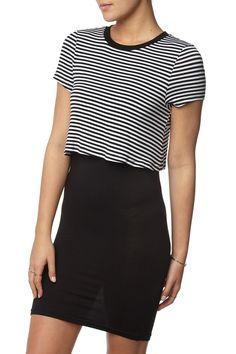 kn tonina tshirt dress, BLACK/WHITE LAURA STRIPE/BLACK UNDER