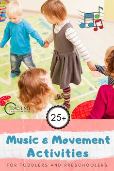 Music and movement is a wonderful way to work on physical skills, while also encouraging young children to learn sounds, words and patterns. Here are 10+ favorite ideas to try with toddlers and preschoolers! #music #instruments #movement #grossmotor #circletime #toddler #preschool #dancing #singing #songs #age2 #age3 #teaching2and3yearolds