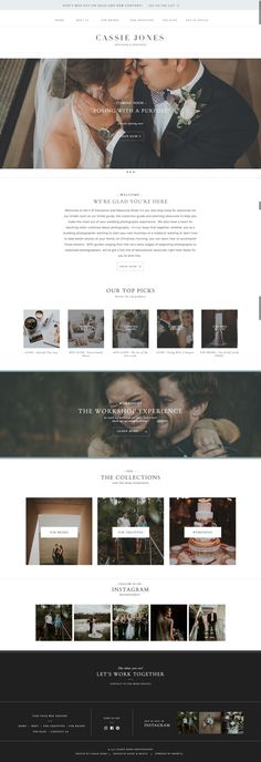 Classic, minimalist, website template for photographer Cassie Jones | Davey & Krista