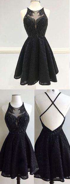 A-Line Homecoming Dresses,Round Neck Homecoming Dress,Black Homecoming Dresses,Lace Homecoming Dress,Sleeveless Homecoming Dresses,Short Homecoming Dress,Beading Homecoming Dresses,Homecoming Dress