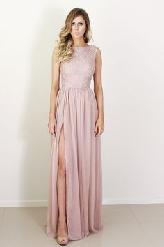 Ava pink lace and silk formal bridesmaid dress with split | daysofglamour
