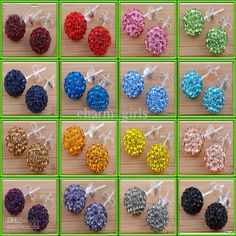 Wholesale Ball Beads - Buy =10mm Crystal Rhinestone Disco Pave Ball Beads Earring Studs Fashion Ladies Earring, $0.6 | DHgate