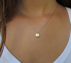 Simple Gold Necklace Gold Disc Necklace by ravitschwartz on Etsy