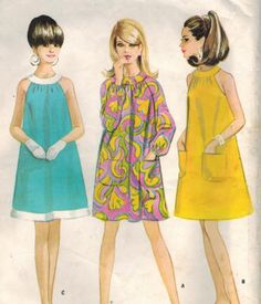 1960s McCall's 8706 Vintage Sewing Pattern Misses Tent Dress Size 14 Bust 34