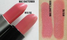 MAC Chatterbox Lipstick vs. NYX Fig Lipstick