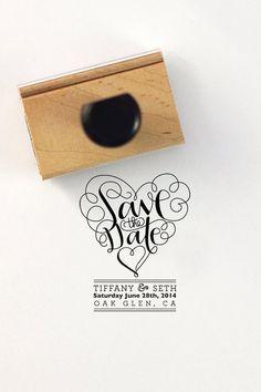 Vlastné Svadobné oznámenia pečiatka - ručne písaného známku s rukoväťou - Tiffany a Seth štýl