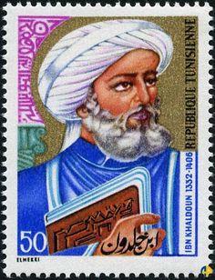 Timbre tunisien à effigie d'Ibn Khaldoun-Ibn Khaldoun, en arabe ابن خلدون (ibn khldoun), de son nom complet Abou Zeid Abd ur-Rahman Bin Mohamad Bin Khaldoun al-Hadrami1,2 (né le 27 mai 1332 à Tunis et mort le 17 mars 1406 au Caire), est un historien, philosophe,