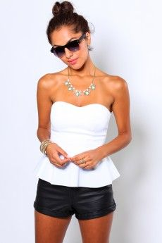PEPLUM TUBE TOP - WHITE