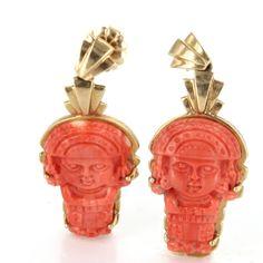 Vintage 14 Karat Yellow Gold Coral Aztec Dangle Drop Earrings Fine Jewelry $1495