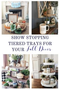 Show Stopping Tiered Trays For Your Fall Decor Whether you have a wooden, galvanized or no tiered tray, gear up to create a show stopping tray for you to include in yo. Shabby Chic Decor, Rustic Decor, Galvanized Tiered Tray, Dining Centerpiece, Country Farmhouse Decor, Farmhouse Style, Country Style Homes, Tray Decor, Decorating Your Home