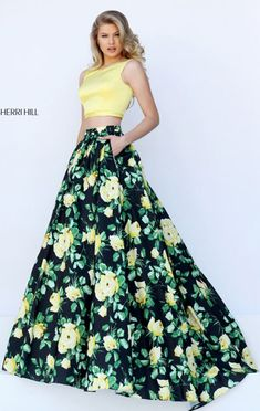 Sherri Hill 50401 Two Piece Boat Neckline Yellow/Black 2017 Long Floral Printed Prom Dresses