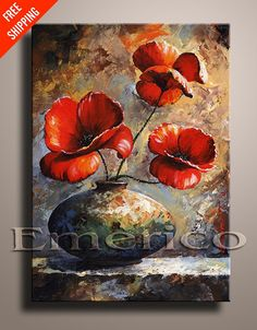 Red Poppies Palette Knife Painting Contemporary Fine Art Still Life Painting EMERICO TOTH Wall hanging Wall Decor FREE Shipping