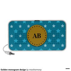 Golden monogram design notebook speaker