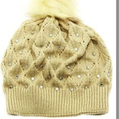 WINTER HAT/CAP FAUX FUR POM POM  BEIGE DOUBLE LAYERED KNIT HAT FOR THOSE LADIES WHO LIKE BLING Accessories Hats