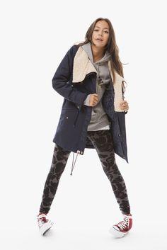 tomboy style with duffel coat and sweatshirt