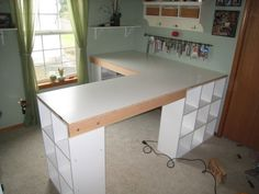 DIY craft room desk - I'm going to make this for my sewing room. My sewing can go on one side and the open island side can be for my cutting mat/table. Craft Room Desk, Craft Room Storage, Room Organization, Diy Desk, Craft Rooms, Ikea Desk, Diy Storage, Ikea Kallax, Ikea Ikea