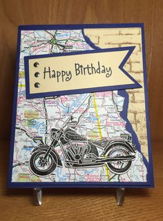57 best Ideas for motorcycle man birthday cards Birthday Cards For Boys, Masculine Birthday Cards, Bday Cards, Handmade Birthday Cards, Happy Birthday Cards, Masculine Cards, Greeting Cards Handmade, Male Birthday, Cards For Men Handmade
