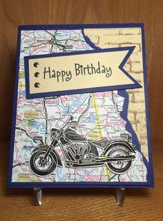 57 best Ideas for motorcycle man birthday cards Birthday Cards For Boys, Masculine Birthday Cards, Bday Cards, Handmade Birthday Cards, Happy Birthday Cards, Masculine Cards, Greeting Cards Handmade, Male Birthday, Diy Birthday