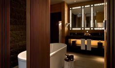 Stylish bathrooms in the rooms at The Chedi Andermatt, Swiss Alps, Switzerland