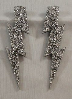 "4"" Glam Style Large GLITTER Lightning Bolt Earrings. $18.00"