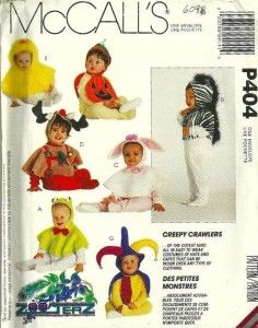 mccalls 6098 creepy crawlers infant toddlers hoods and capes costumes sewing zooterz chick pumpkin court jestercostume patternshalloween - Halloween Costume Patterns For Kids