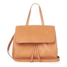Mansur Gavriel Pink-lined mini Lady leather bag ($800) ❤ liked on Polyvore featuring bags, handbags, shoulder bags, tan, leather shoulder bag, over the shoulder handbags, genuine leather shoulder bag, over the shoulder bags and red handbags