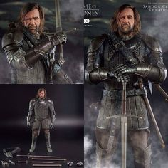 From the hit TV series Game of Thrones comes this highly detailed and fully articulated figure of Sandor Clegane also known as The Hound. It stands approx. 33 cm tall wears real fabric clothing and comes with accessories. Features:  Head sculpt with realistic likeness and rooted hair  Exchangeable hands  Detailed armour costume featuring  Gauntlets greaves and belt decoration  Back and waist belts with sheathes for weapons  Greatsword  Long sword  Dagger  Katar For more exclusive figures…