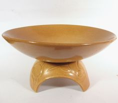 Footed Compote (#105T) by Gracetone in the Cinnamon glaze. The Gracetone line was associated with Frankoma Pottery for several years.