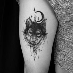 Sketchy Wolf Tattoo by kamilmokot