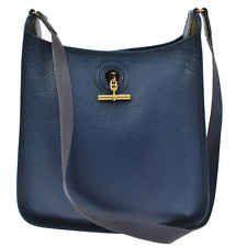 Authentic HERMES VESPA PM Navy Leather Shoulder Bag Vintage GHW R09647
