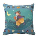 Witch for child throw pillow #halloween #happyhalloween #halloweenparty #halloweenmakeup #halloweencostume