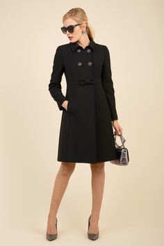 Double-breasted crepe tailored overcoat with jewel buttons.