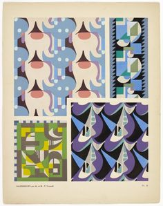 "design-is-fine: "" Maurice Pillard Verneuil, abstract ornaments from Kaleidoscope, 1920s. Pochoir print. Published by Albert Lévy, Paris. Complete portfolio via Wolfsonian """