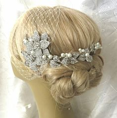 Bridal Hair Comb and a Birdcage Veil  (2 Items), bird cage veil  bridal veil,Headpieces ,bridal pearl comb ,Swarovski Pearls Wedding