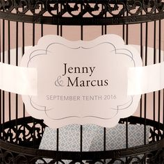 This die-cut paper medallion is used to embellish our Classic Round Decorative Birdcage. This medallion also acts as a security option when applied with a large ribbon as it would prevent hands from reaching into the cage, and any cards from falling out. It can be personalized with your wedding colors as well as your first names. Available for purchase online at http://madelinesweddings.weddingstar.com/product/die-cut-paper-medallion