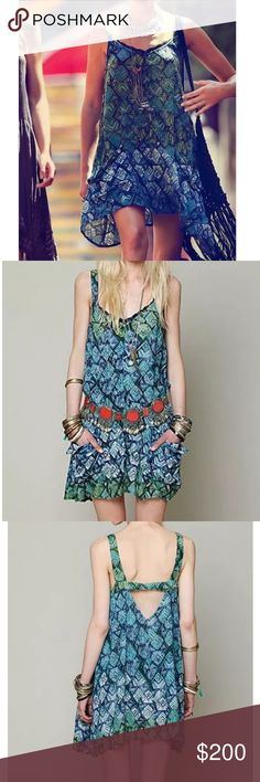 FREE PEOPLE Mini Dress Patterned Bohemian Classic Size XS. New Without Tags. $128 MSRP + Tax.  • Beautiful mini dress featuring an effortless silhouette & raw lace trim at neckline. • Blue in color with green & white tones. • Slouchy pocket at each front side with half-sewn sides. • Cutout at back & banded elastic detailing. • High-low style hemline. • Unfinished seams. • Unlined. • FP ONE. • Rayon.  {Southern Girl Fashion - Closet Policy}  ✔️ Same-Business-Day Shipping (10am CT). ✔️ Price…