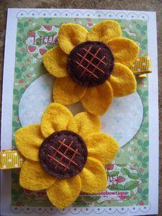 Beautiful HandSewn Sunflower Felt Hair Clips by LittleDollysShop, $6.50
