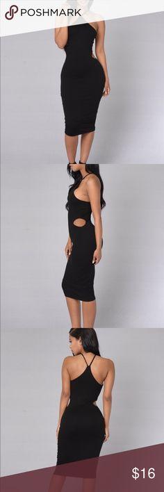 At First Sight Dress - FASHION NOVA MODEL All Black Dress, Two Slits at the Hip, Mid Length, No Sleeves Fashion Nova Dresses Midi