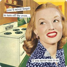 Magnets from Anne Taintor: you'll never forget to turn off the oven...if you never turn it on