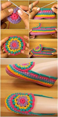 Crochet Colorful Slippers Craft Ideas Crochet Colorful Slippers Craft Ideas T . - Crochet Colorful Slippers Craft Ideas Crochet Colorful Slippers Craft Ideas This image has get 5 re - Crochet Slipper Pattern, Crochet Motif, Crochet Flowers, Crochet Stitches, Crochet Baby, Diy Crochet, Crochet Woman, Crochet Slipper Boots, Crochet Slippers