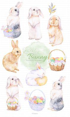 Easter Bunny, Easter Eggs, Rabbit Clipart, Nursery Art, Animal Nursery, Spring Animals, Watercolor Books, Rabbit Illustration, Garden Animals