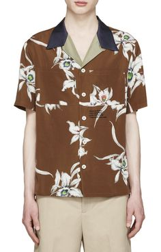 Valentino brown floral print shirt from SSENSE (men, style, fashion, clothing, shopping, recommendations, stylish, menswear, male, streetstyle, inspo, outfit, fall, winter, spring, summer, personal)