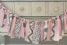 Elephant Baby Shower Fabric Banner Chevron Pink and Gray Baby