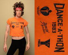 vintage half shirt 80s Dance-A-Thon YMCA crop top aerobics dance workout wear 1980 crop tee midriff shirt medium M jazzercise