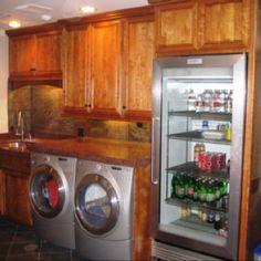 Extra fridge room in the laundry?  Creative!!!! Love it!
