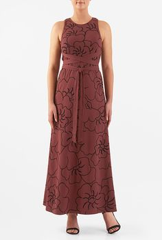 I <3 this Empire tie waist floral embellished cotton knit maxi dress from eShakti