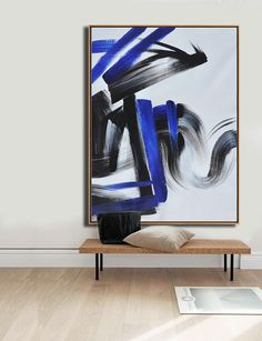 CZ Art Design - Hand-Painted Minimal Art #XB116B, black, white, blue, Vertical abstract painting for minimalist home.
